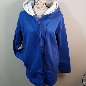 Cobalt blue zip fleece lined hood XL xxl